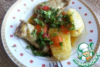 Крылышки с картошкой и с болгарскими перцами