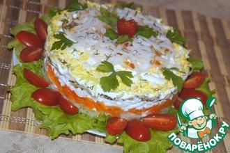 Слоеный салат с копченым кальмаром