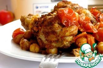 Курица с нутом, томатами и паприкой