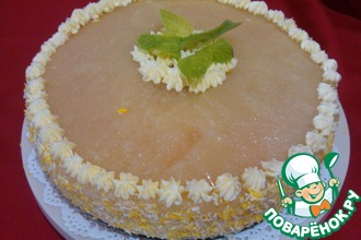 Воздушный ананасовый торт с творогом и джемом
