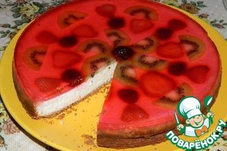Творожный фруктовый пирог