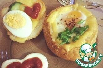 Чашечки с яйцом и сыром