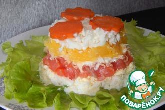 Слоеный салат с семгой и апельсинами