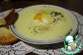 Крем-суп с яйцом пашот