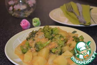 Картошка-карри с брокколи