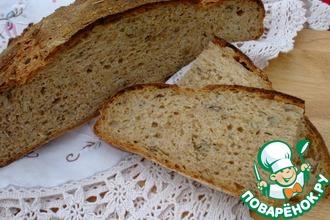 Деревенский хлеб из трех видов муки с семенами