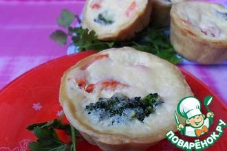 Открытые мини-пироги с овощами и сыром