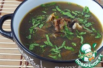 Грибной суп с овсяными хлопьями и морской капустой