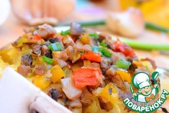 Картофель по-деревенски с грибами и овощами
