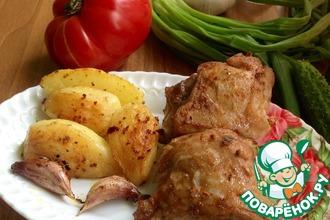 Свиная грудинка и ребрышки, запеченные с картофелем