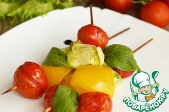 Овощи на шпажках с сыром
