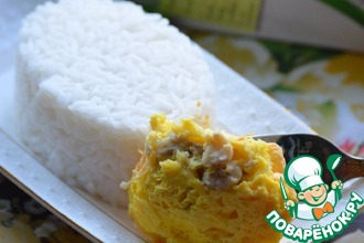 Камбала в суфле из сыра с рисом