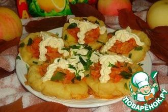 Имбирно-картофельные тарталетки с тушеной капустой