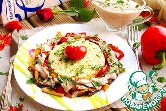 Печеные овощи под соусом баже и золотым пшеном
