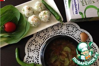 Корейский мисо-суп с рисовыми шариками