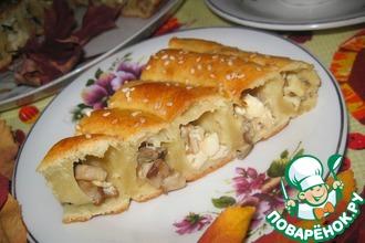 Пирог с лесными грибами и брынзой