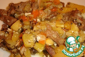 Мясо с овощами, запеченное в горшочках
