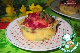"""Сырные """"корзинки"""" с салатом из курицы и овощей"""