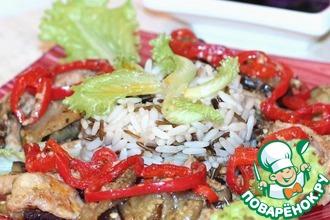 Свинина c баклажаном и рисом по-пекински