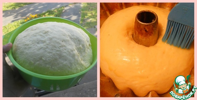 Когда тесто подойдет, разложить по смазанных маслом формах. Если у вас силиконовые, их нужно просто сбрызнуть водой. Я взяла 2 большие формы, но можно брать и маленькие, как на кексы. Смазать тесто желтком и печь 15 минут при 200 градусах, после чего уменьшить огонь до 150 и печь еще 35- 40 минут)