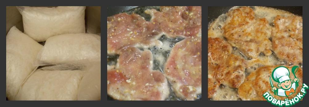 """Теперь, когда нам надо покушать, мы сначала ставим воду для риса, солим и доводим до кипения. Кладем туда пакетики с нашим рисом от """"Мистраль"""" и варим. Ну а пока он варится, мы успеем накрыть на стол. Затем наливаем на сковороду масло, греем и обжариваем мясо с двух сторон по 1,5-2 мин. до румяной корочки, раскладывая в один слой. Этого времени обычно достаточно, чтобы оно прожарилось."""