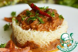 Свинина в овощном соусе с рисом