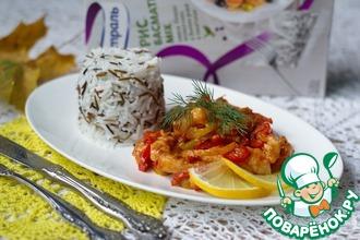 Стир-фрай из рыбы с болгарским перцем