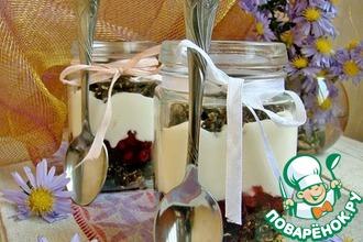 Десерт в рижском стиле с брусничным соусом