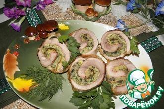 Мясные рулеты с омлетом и грибами