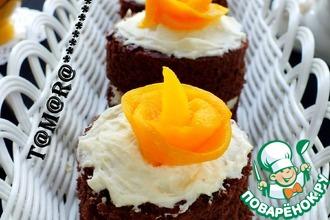 Шоколадные пирожные со сливочно-ванильным кремом
