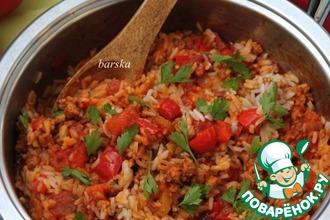 Итальянская сковорода с фаршем, овощами и рисом