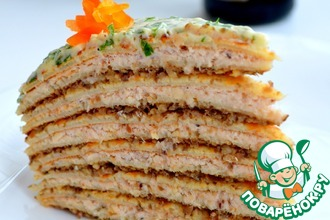 Блинный торт с куриным паштетом и грибами