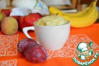 Пшенно-рисовый пудинг с банановым соусом