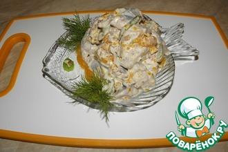 Салат из сельди с виноградом и мандаринами
