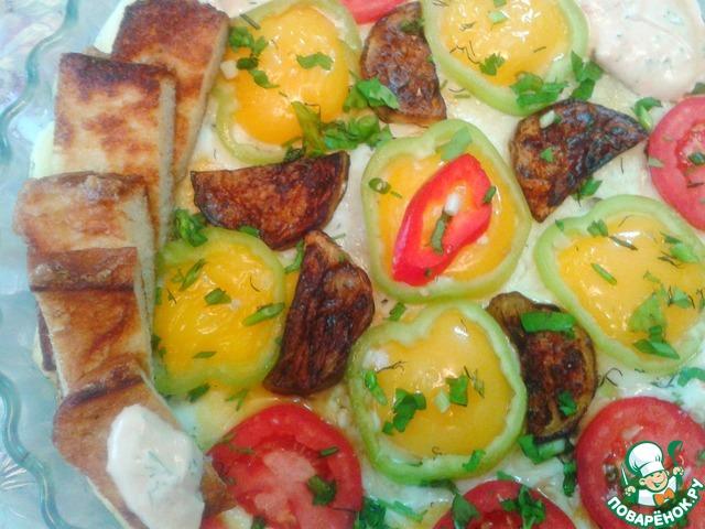 На масле IDEAL я приготовила яичницу с овощами, прижарила гренки и заправила соусом. Угощайтесь, мои дорогие!