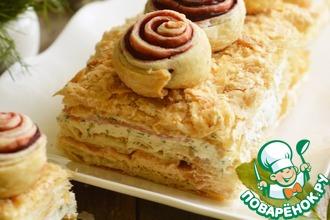 Закусочный торт с икорным кремом и семгой