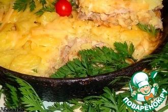 Картофельная запеканка с курицей и крекером