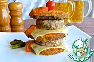 Двойной грибной чизбургер в баклажане