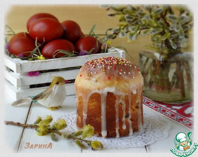 Для глазури смешать сахарную пудру с водой, хорошо растереть. Покрыть глазурью еще горячие куличи. Приятного!!