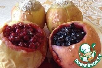 Ассорти из печеных яблок с разной начинкой