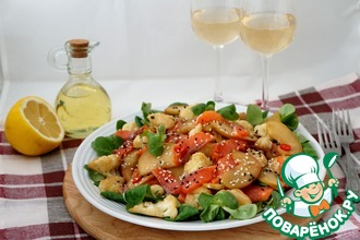 Салат с сёмгой, яблоками и цветной капустой