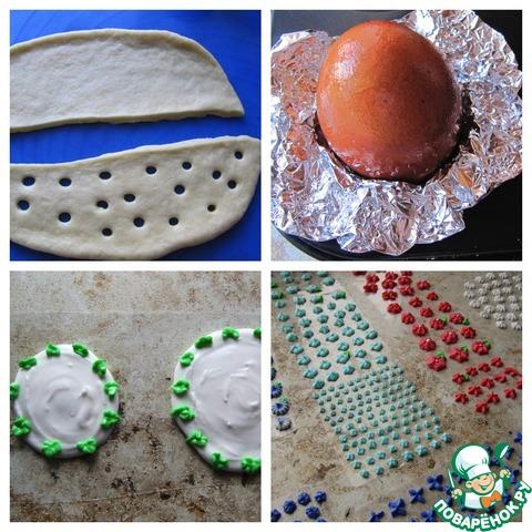 """Для юной леди я приготовила угощение """"яйцо-в-яйце"""", наружное """"яйцо"""" состоит из двух половинок выпеченного теста, как киндер, покрытых сверху белковой глазурью и украшенных айсингом. Вареное яйцо смазать растительным маслом и закрепить при помощи фольги в форме для выпечки, сверху обернуть тестом (предварительно вымешанным сдобным тестом с добавлением муки), хорошенько закрепить, выпечь и полностью охладить, покрыть глазурью, затем украсить айсингом по-своему вкусу. Рецепт айсинга тут: http://www.povarenok .ru/recipes/show/581  33/. Внутри находится творожное """"яйцо"""" (приготовленное аналогично, смотри шаг 8), которое предварительно обваляла в кондитерской присыпке для куличей. (часть фото шагов сделать забыла, так как отвлеклась!)."""