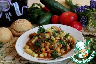 Нут с овощами и кроличьим мясом