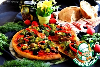Пицца с овощами и хлеб на фасолевом тесте