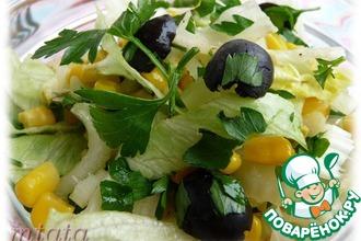 Салат из кукурузы с сельдереем и маслинами