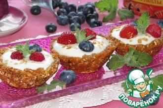 Овсяные корзиночки с ягодами и кристаллами сахара