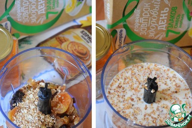 В чашу блендера (комбайна) выложить курагу, изюм, чернослив (жидкость слить), добавить мед, корицу, поджаренные хлопья, залить все молоком.