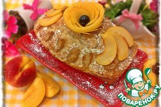 Персиковый пирог в сливочной заливке