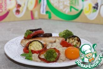 Каша с курицей и овощами-гриль