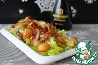 Салат из морского гребешка и бекона